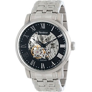Armitron Men's 20/4919BKSV Automatic Black Dial Bracelet Skeleton Watch